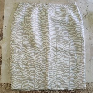 Calvin Klein Tan and White Printed Pencil Skirt